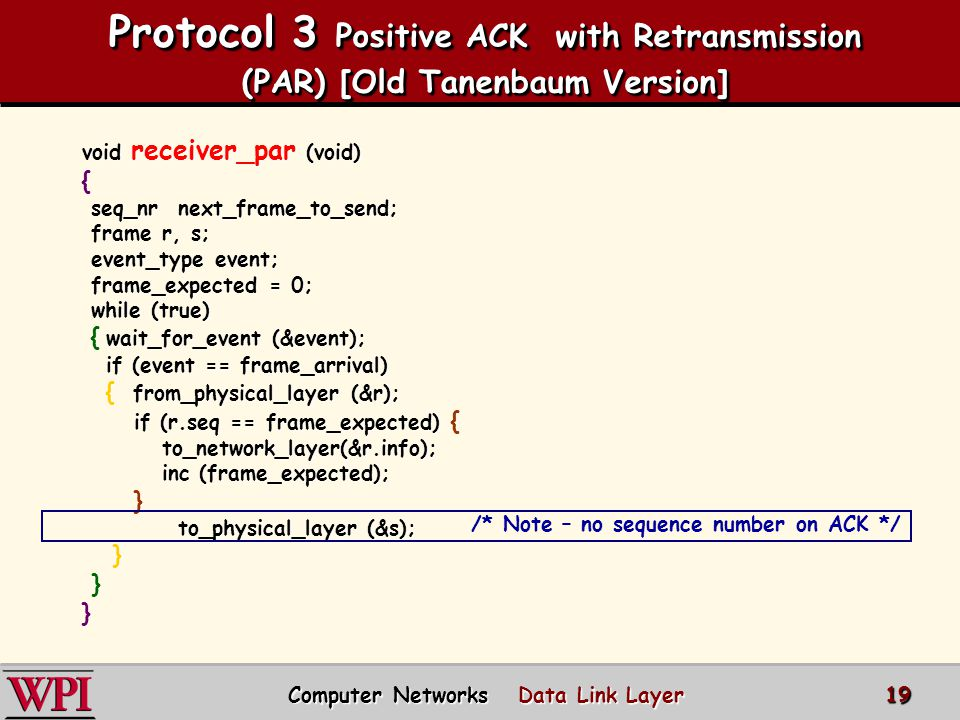 Protocol 3 Positive ACK with Retransmission (PAR) [Old Tanenbaum Version]